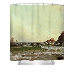 Cliffs At Cape Elizabeth Shower Curtain by Alfred Thompson Bricher