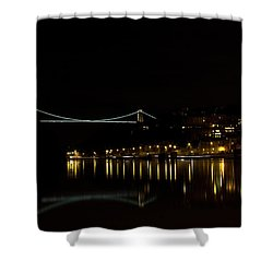 Clifton Suspension Bridge At Night Shower Curtain by Brian Roscorla