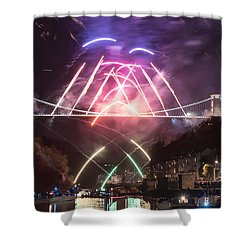 Shower Curtain featuring the photograph Clifton Suspension Bridge Fireworks by Colin Rayner
