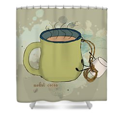 Climbing Mt Cocoa Illustrated Shower Curtain by Heather Applegate