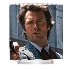 Clint Eastwood With 44 Magnum Dirty Harry 1971 Shower Curtain by David Lee Guss