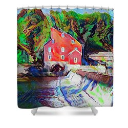 Clinton New Jersey -the Red Mill  On The Raritan River  Watercol Shower Curtain by Bill Cannon