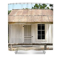 Shower Curtain featuring the photograph Clint's Cabin - Texas - Close-up by Ray Shrewsberry