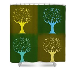 Shower Curtain featuring the mixed media Clip Art Trees by Dan Sproul