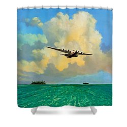 Clipper Over The Islands Shower Curtain