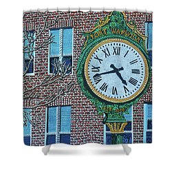 Clock At Port Warwick Shower Curtain by Micah Mullen