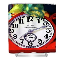 Clock In The Garden Painting 3 Shower Curtain