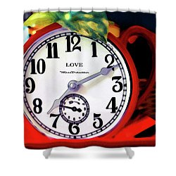 Clock In The Garden Painting  Shower Curtain