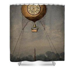 Clock Over Paris Shower Curtain
