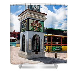 Shower Curtain featuring the photograph Clock Tower by Lawrence Burry