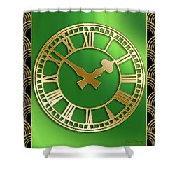 Shower Curtain featuring the digital art Clock With Border by Chuck Staley
