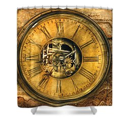 Clockmaker - Clock Works Shower Curtain by Mike Savad