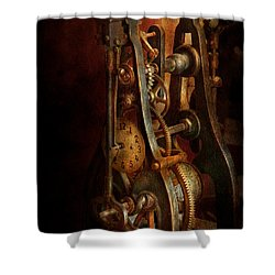 Clockmaker - Careful I Bite Shower Curtain by Mike Savad