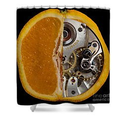 Shower Curtain featuring the photograph Clockwork Orange by Brian Roscorla