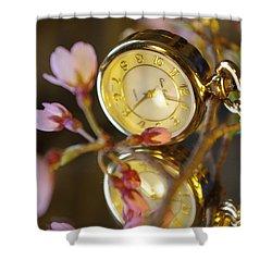 Clock - Flower Shower Curtain
