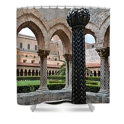 Cloister Of The Abbey Of Monreale. Shower Curtain by RicardMN Photography