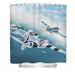 Close Encounter With A Focke-wulf Shower Curtain by Douglas Castleman