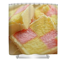 Close Up Of Battenberg Cake E Shower Curtain