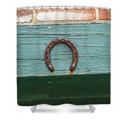 Close Up Of Rusty Horseshoe Shower Curtain
