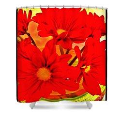 Close Up Red Gerbers Shower Curtain by Marsha Heiken
