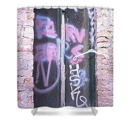 Closed Window And Hanger Shower Curtain