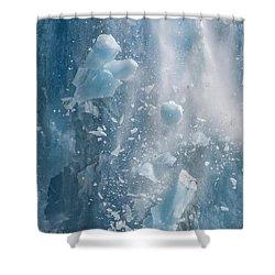 Closeup Of Dawes Glacier Calving Shower Curtain