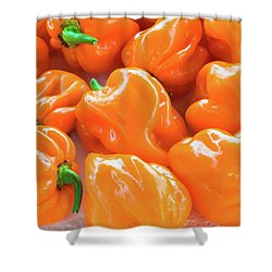 Closeup Of Fresh Chillies Habanero Orange Shower Curtain