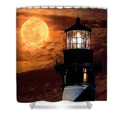 Closeup Of Full Moon Rising Over St Augustine Lighthouse Shower Curtain