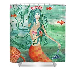 Closeup Of Lily Pond Mermaid With Goldfish Snack Shower Curtain by Sushila Burgess