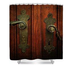 Closeup Of Two Ornamented Handles Shower Curtain by Jaroslaw Blaminsky