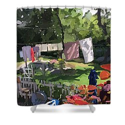 Clothesline And Coleus In An East Gloucester  Ma Garden  Shower Curtain
