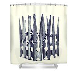 Clothespin Shower Curtain by Priska Wettstein