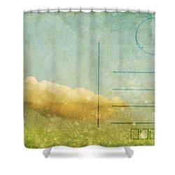Cloud And Sky On Postcard Shower Curtain by Setsiri Silapasuwanchai