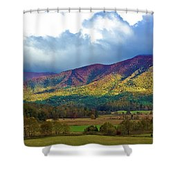 Cloud Covered Peaks Shower Curtain by DigiArt Diaries by Vicky B Fuller
