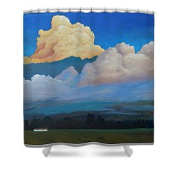 Shower Curtain featuring the painting Cloud On The Rise by Gary Coleman