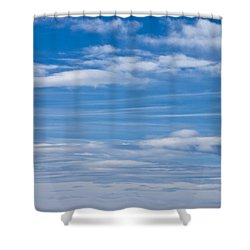 Cloud Streaked Blue Sky Shower Curtain by Sandra Foster