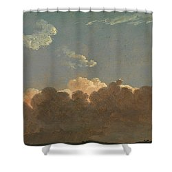Shower Curtain featuring the painting Cloud Study. Distant Storm by Simon Denis