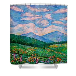 Cloud Swirl Over The Peaks Of Otter Shower Curtain by Kendall Kessler