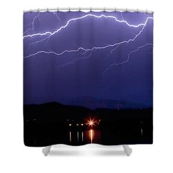 Cloud To Cloud Horizontal Lightning Shower Curtain by James BO  Insogna