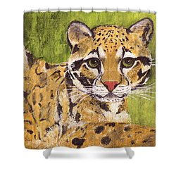 Shower Curtain featuring the painting Clouded Cat by Jamie Frier