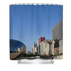 Cloudgate Reflects Michigan Avenue  Shower Curtain