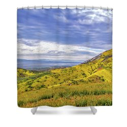 Shower Curtain featuring the photograph Clouds Above Temblor Range by Marc Crumpler