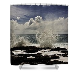 Shower Curtain featuring the photograph Clouds And Crashing Waves by Craig Wood