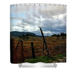 Shower Curtain featuring the photograph Clouds And Field by Chriss Pagani