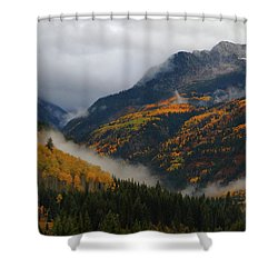 Clouds And Fog Encompass Autumn At Mcclure Pass In Colorado Shower Curtain