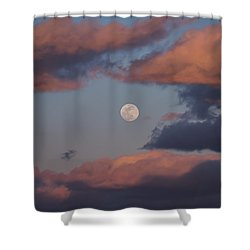 Shower Curtain featuring the photograph Clouds And Moon March 2017 by Terry DeLuco