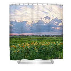 Clouds And Sunflowers Shower Curtain