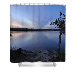 Clouds At Sunset On Seagull Lake Shower Curtain by Larry Ricker