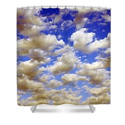 Shower Curtain featuring the digital art Clouds Blue Sky by Jana Russon