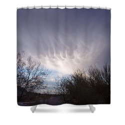 Shower Curtain featuring the painting Clouds In Desert by Mordecai Colodner